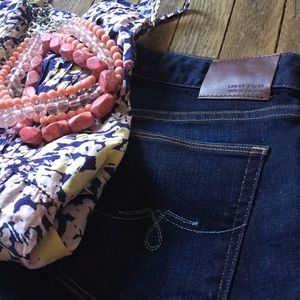 Dark wash jeans. Lucky Brand, Lolita boot.